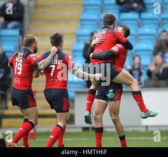 La Stadio di Shay, UK. 05 feb 2017. La Stadio di Shay, Halifax, West Yorkshire il 5 febbraio 2017. Halifax V Featherstone Foto Stock