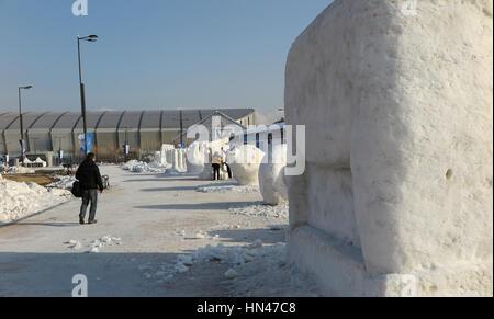 Gangneung, Corea del Sud. Il giorno 08 Febbraio, 2017. Una vista di una scultura di ghiaccio presso l'Olympia Park, Foto Stock
