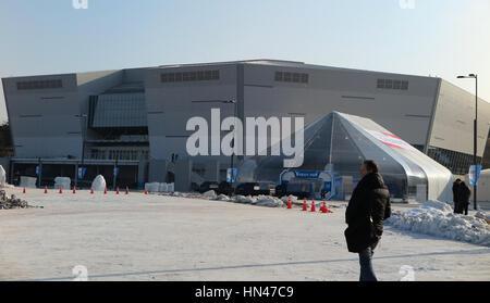 Gangneung, Corea del Sud. Il giorno 08 Febbraio, 2017. Una vista del Gangneung Hockey center per i giochi olimpici Foto Stock