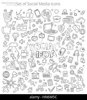 Illustrazione Vettoriale di grandi set di Social Media icone e scarabocchi. Disegnato a mano stile Sketch. Foto Stock