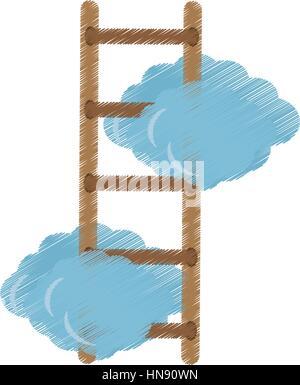 Nuvole con scaletta immagine dell'icona, illustrazione vettoriale design Foto Stock