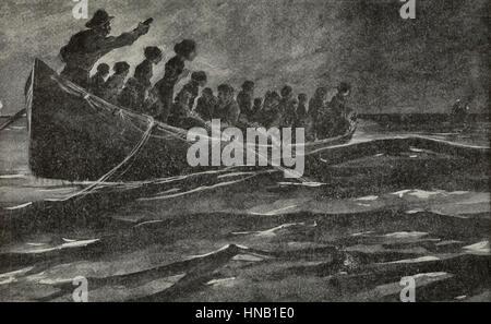 All'alba, le luci della nave di salvataggio, Carpathia, apparso all'orizzonte - come detto da superstiti del Titanic Foto Stock