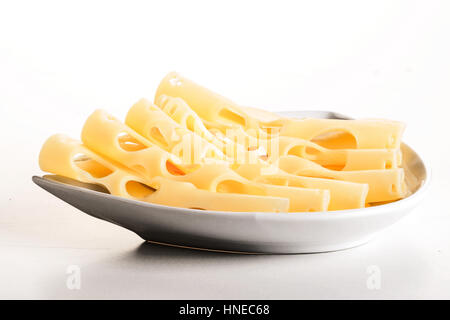 Close-up di formaggio sulla piastra Foto Stock