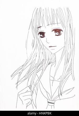Disegno In Stile Anime Foto Di Una Ragazza Nella Foto In Stile