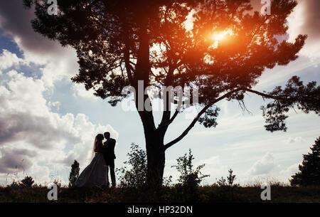 Ritratto di belle coppie in viaggio di nozze al tramonto Foto Stock