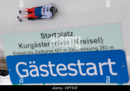 Koenigssee, Germania. 24 Febbraio, 2017. Atleta russa Nikita Tregybov in azione al Bob & Skelton Campionati del Foto Stock