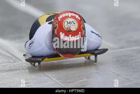 Koenigssee, Germania. 24 Febbraio, 2017. Atleta tedesco Fernstaedt Ana in azione al IBSF di Bob e Skeleton Campionati Foto Stock