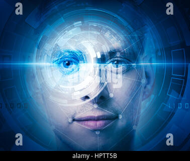 High tech face scan Foto Stock