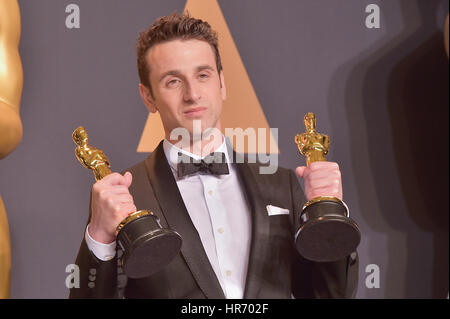 Hollywood, ca. 26 febbraio, 2017. justin hurwitz, a 89annuale di academy awards press room di Hollywood & Highland Foto Stock