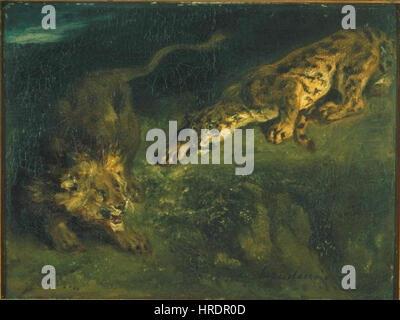 Eugene Delacroix 26. 4. 1798-13. 8. 1863 - Tygr un lev Foto Stock