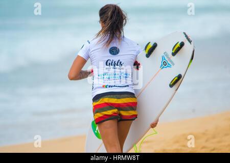 Sydney, Australia - 3 Marzo 2017: Australian Open di surf evento sportivo a Manly Beach, Australia con il surf, Foto Stock