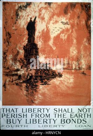 La prima guerra mondiale, quarta libertà Bond Drive, 1918 Foto Stock
