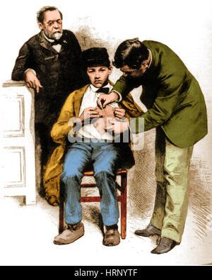 Louis Pasteur supervisione di inoculazione di rabbia, 1885 Foto Stock