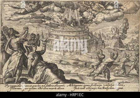 Torre di Babele distrutti, Genesi scena Foto Stock