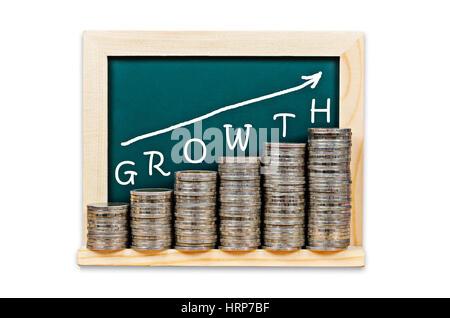 Grafico di denaro con la crescita su lavagna isolati su sfondo bianco. La crescita aziendale concetto. Foto Stock