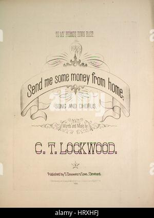 """Foglio di musica immagine copertina della canzone """"fine me un po' di denaro da casa Song e coro"""", con paternitã Foto Stock"""