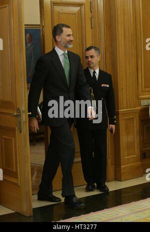 Madrid, Spagna. 7 Mar, 2017. Re spagnolo Felipe VI durante il royal udienza in Madrid. 07/03/2017 Credit: Gtres Foto Stock