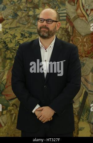 Madrid, Spagna. 7 Mar, 2017. Sindaco di Santiago de Compostela Martiño Noriega Sanchez durante il royal udienza Foto Stock