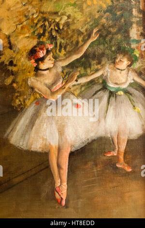Pittura intitolato due danzatori su un palcoscenico di Edgar Degas datato 1874 Foto Stock