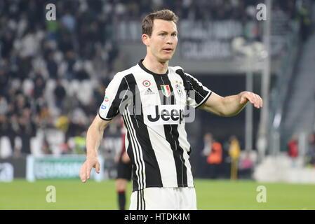 Stephan Lichtsteiner (Juventus FC) durante la serie di una partita di calcio tra Juventus e AC Milan alla Juventus Foto Stock