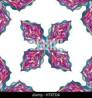 Disegnato a mano modello di ornamento. Vettore tracery geometrica perfetta dello sfondo. Abstract rombo colorati texture di sfondo, il confezionamento, disegno tessile Foto Stock