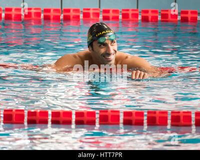 Milano, Italia - 10 Marzo 2017: Filippo Magnini nuotatore durante il 7° Trofeo Città di Milano nuoto la concorrenza. Foto Stock