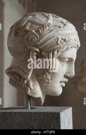 Testa da una statua del dio della guerra Ares. Copia romana da 150-160 annuncio dopo il greco statua di culto da Foto Stock
