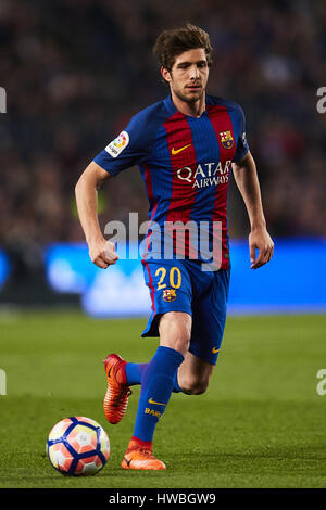 Barcellona, Spagna. Xix Mar, 2017. Sergi Roberto (FC Barcelona), durante la Liga partita di calcio tra Barcellona Foto Stock