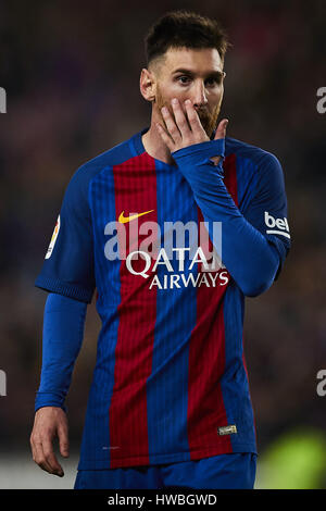 Barcellona, Spagna. Xix Mar, 2017. Lionel Messi (FC Barcelona), durante la Liga partita di calcio tra Barcellona Foto Stock