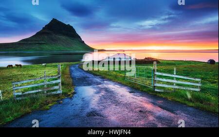 Il pittoresco tramonto su paesaggi e cascate. Kirkjufell montagna. L'Islanda Foto Stock