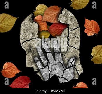 Stilizzata testa maschio silhouette tenendo la sua testa.foto-montaggio a secco con massa rotto e foglie di autunno Foto Stock