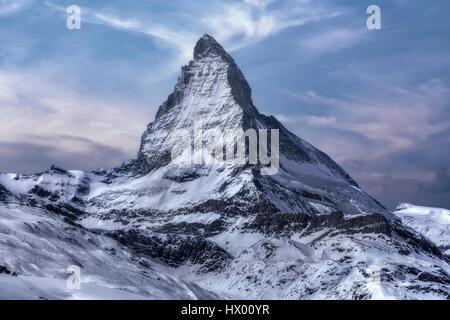 Il Cervino, Zermatt, Gornergrat, Vallese, Svizzera, Europa Foto Stock