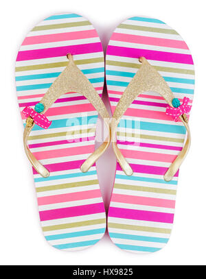 Moda estate striped flip flop o pantofole isolati su sfondo bianco. Foto Stock