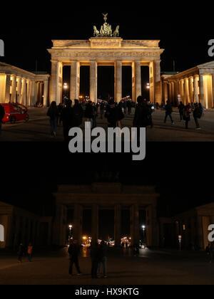 Berlino. 25 Mar, 2017. Combo foto scattata il 25 marzo 2017 mostra la Porta di Brandeburgo con le luci accese (sopra) e spento per l annuale Earth Hour manifestazione di Berlino, capitale della Germania. Credito: Shan Yuqi/Xinhua/Alamy Live News