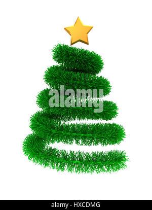 3d illustrazione di verde albero di natale con la golden star