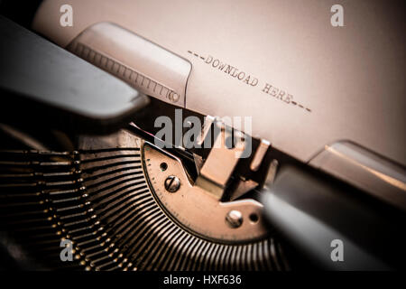 Nastri inchiostratori per macchine da scrivere closeup shot, concetto di scarica Foto Stock