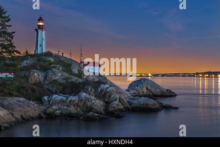 Punto Atkinson Lighthouse Park Vancouver BC Canada Foto Stock