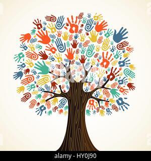 Diversità isolato mani ad albero illustrazione. File vettoriale stratificata per una facile manipolazione e colorazione Foto Stock
