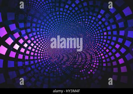 Il frattale di blu e rosa di piastrelle che scorre dal centro, un abstract immagine di sfondo Foto Stock