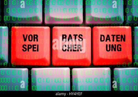 La parola la ritenzione dei dati sulla tastiera di un computer, das Wort Vorratsdatenspeicherung auf einer Computertastatur Foto Stock