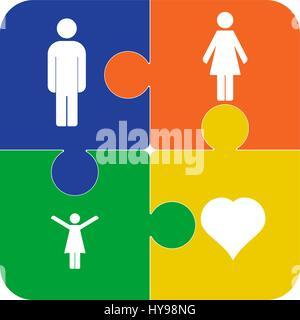 Vettore colorati puzzle, quattro pezzi isolati, con simboli di persone. Icona sociale. Foto Stock