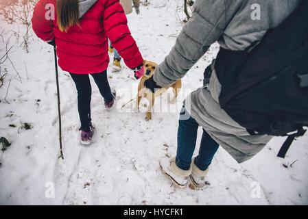 La madre e le figlie escursionismo in bianco inverno foresta con il cane Foto Stock