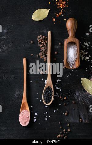 Varietà di sale colorato Foto Stock