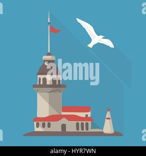 Illustrazione Vettoriale lunga ombra icona piana di maiden's tower Foto Stock