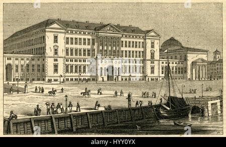 """Antica incisione 1854, """" Il Palazzo Reale di Christiansborg, a Copehagen.' Christiansborg Palace è un palazzo e Foto Stock"""
