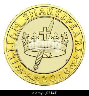 "British £2 moneta (2016) per commemorare i 400 anni di Shakespeare - la morte ""storie"" Foto Stock"
