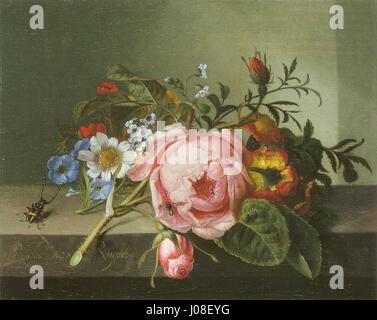 Ruysch, Rachel E28094 Rosenzweig mit Käfer und Biene E28094 1741 Foto Stock