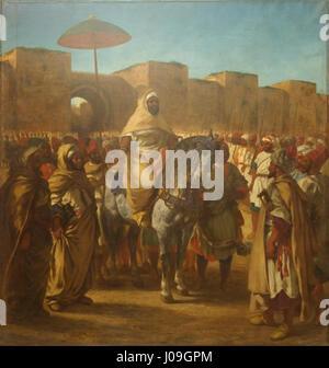 Maulay abd-er-Rahman, sultan du Maroc, sortant de son Palais de Maknès, entouré de sa garde et de ses principaux Foto Stock