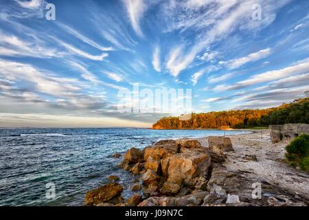 Sunset over lavandaia's Beach, Bendalong Beach, Shoalhaven, South Coast, Nuovo Galles del Sud, NSW, Australia Foto Stock
