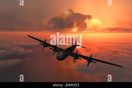 Il Enola Gay un B-29 Superfortress , far cadere in assoluto la prima bomba nucleare utilizzato in una guerra,sulla Foto Stock